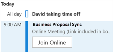 Shows Join Online button for meetings